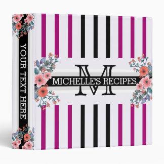 Monogram Vintage Floral Black Flirt Stripes Vinyl Binder