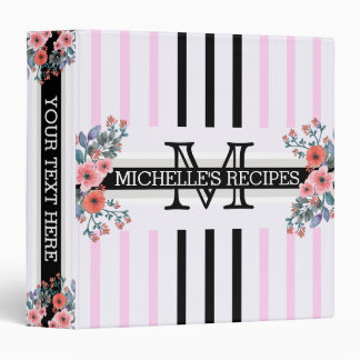 Monogram Vintage Floral Black Shampoo Stripes Vinyl Binder