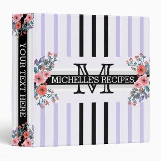 Monogram Vintage Floral Black Soap Stripes Binders
