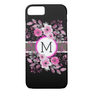 Monogram Vintage Floral Modern Plain Black #10 iPhone 8/7 Case