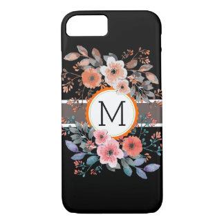Monogram Vintage Floral Modern Plain Black #12 iPhone 8/7 Case
