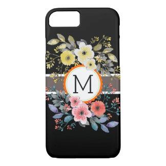 Monogram Vintage Floral Modern Plain Black #14 iPhone 8/7 Case