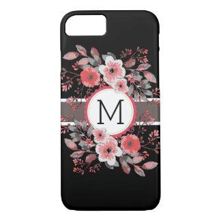 Monogram Vintage Floral Modern Plain Black #8 iPhone 8/7 Case