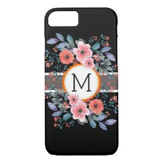 Monogram Vintage Floral Modern Plain Black iPhone 8/7 Case