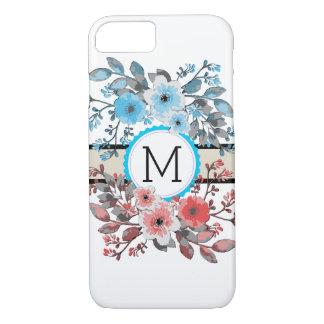 Monogram Vintage Floral Modern Plain White #16 iPhone 8/7 Case