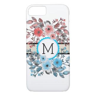 Monogram Vintage Floral Modern Plain White #8 iPhone 8/7 Case