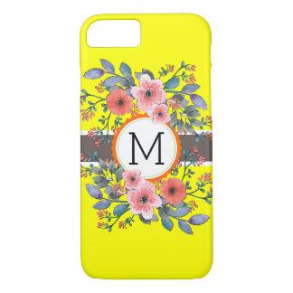 Monogram Vintage Floral Modern Plain Yellow iPhone 8/7 Case