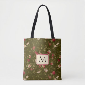 Monogram Vintage Floral Moss Green Rose Pink Tote Bag