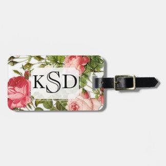 Monogram Vintage Floral Romance Pink Roses Luggage Tag