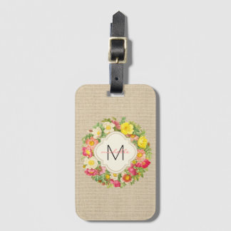 Monogram Vintage Floral Wreath Linen Luggage Tag
