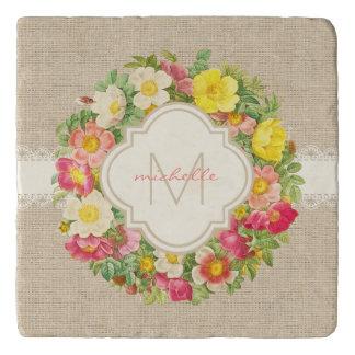 Monogram Vintage Floral Wreath Linen Stone Trivet