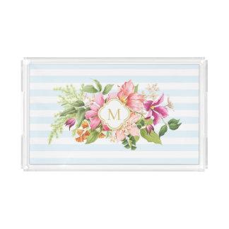 Monogram Vintage Flowers Pink Blue Pastel Tray