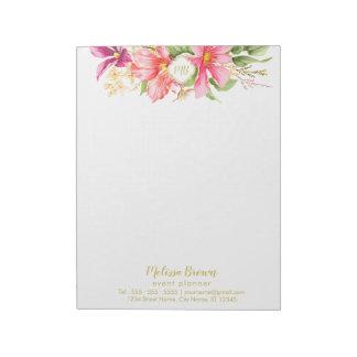 Monogram Vintage Flowers Pink Pastel Chic Notepad