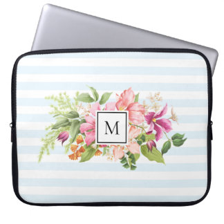 Monogram Vintage Flowers Pink Pastel Laptop Sleeve