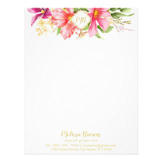 Monogram Vintage Flowers Pink Pastel Letterhead