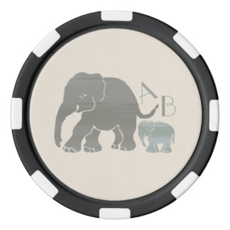 Monogram Vintage Gray and Olive Elephants Poker Chips