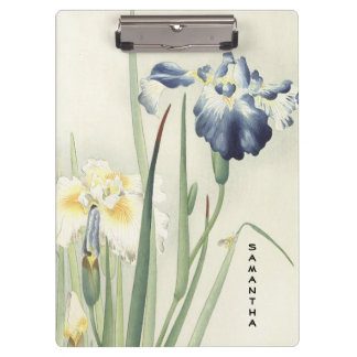 Monogram Vintage Japanese Iris Flower Clipboard