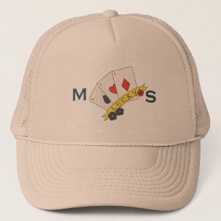 Monogram. Vintage Lucky Trio of Aces Card. Trucker Hat
