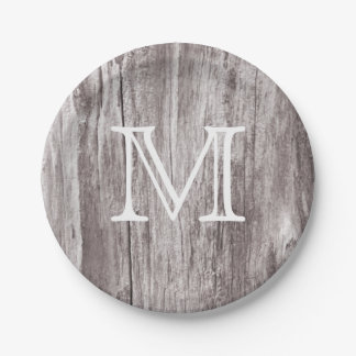 Monogram Vintage Old Wood Background Paper Plate