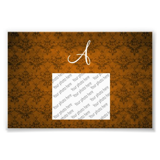 Monogram vintage orange damask photo print