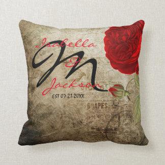 Monogram Vintage Red Rose on Grunge Background Throw Pillow