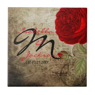Monogram Vintage Red Rose on Grunge Background Tile