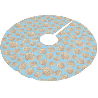 Monogram Vintage Style Seashell Pattern Brushed Polyester Tree Skirt