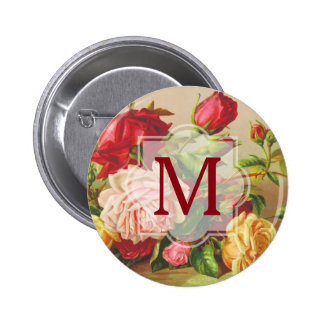 Monogram Vintage Victorian Roses Bouquet Flowers 2 Inch Round Button