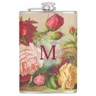 Monogram Vintage Victorian Roses Bouquet Flowers Flask