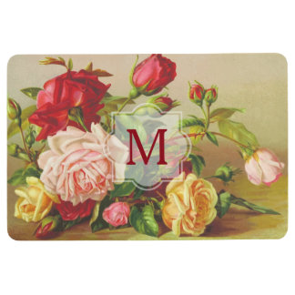 Monogram Vintage Victorian Roses Bouquet Flowers Floor Mat