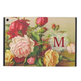 Monogram Vintage Victorian Roses Bouquet Flowers iPad Air Cover