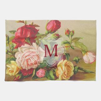Monogram Vintage Victorian Roses Bouquet Flowers Kitchen Towel