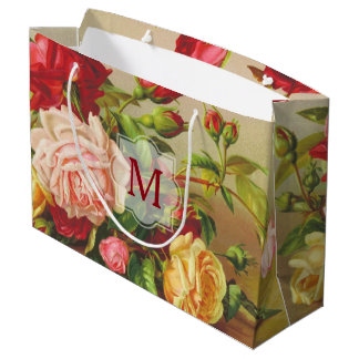 Monogram Vintage Victorian Roses Bouquet Flowers Large Gift Bag