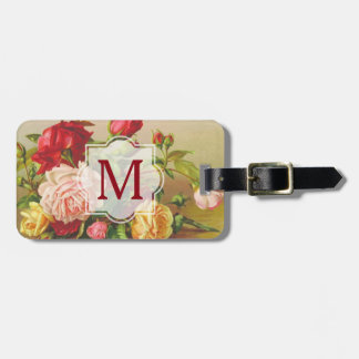 Monogram Vintage Victorian Roses Bouquet Flowers Luggage Tag