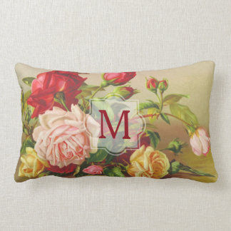 Monogram Vintage Victorian Roses Bouquet Flowers Lumbar Pillow