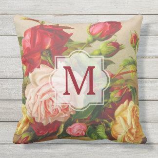 Monogram Vintage Victorian Roses Bouquet Flowers Outdoor Pillow