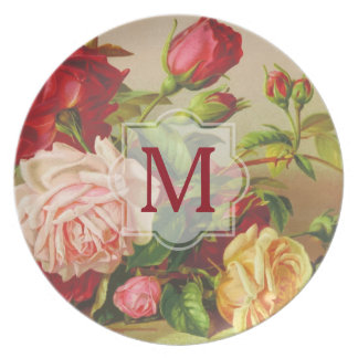 Monogram Vintage Victorian Roses Bouquet Flowers Party Plates