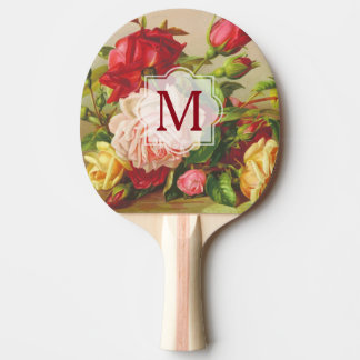 Monogram Vintage Victorian Roses Bouquet Flowers Ping Pong Paddle
