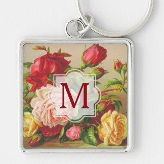 Monogram Vintage Victorian Roses Bouquet Flowers Silver-Colored Square Keychain