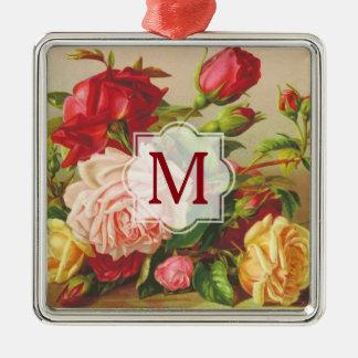 Monogram Vintage Victorian Roses Bouquet Flowers Silver-Colored Square Ornament