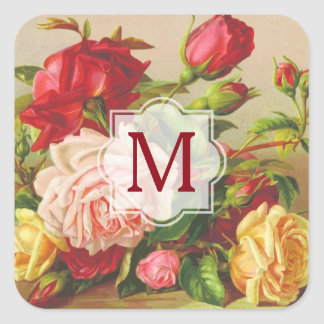 Monogram Vintage Victorian Roses Bouquet Flowers Square Sticker
