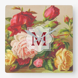 Monogram Vintage Victorian Roses Bouquet Flowers Square Wall Clock