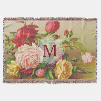 Monogram Vintage Victorian Roses Bouquet Flowers Throw Blanket