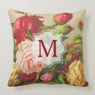 Monogram Vintage Victorian Roses Bouquet Flowers Throw Pillow