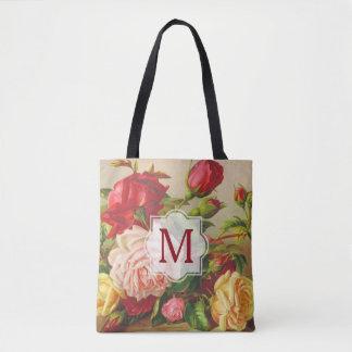 Monogram Vintage Victorian Roses Bouquet Flowers Tote Bag