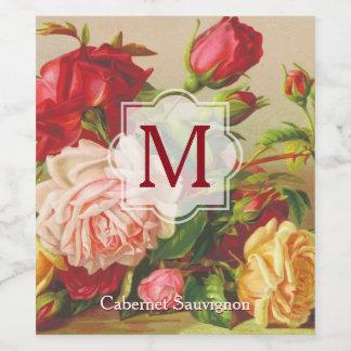 Monogram Vintage Victorian Roses Bouquet Flowers Wine Label