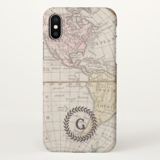 Monogram. Vintage World Map. iPhone X Case