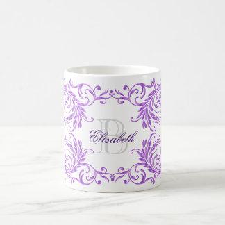 Monogram Violet Damask Coffee Mug