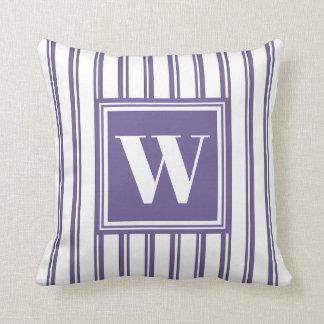 Monogram Violet Modern Stripe Stylish Decor Throw Pillow