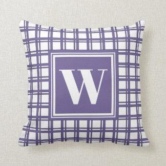 Monogram Violet Modern Tartan Plaid Stylish Decor Throw Pillow